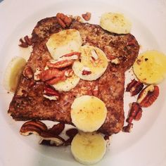 Ezekiel French toast...used Ezekiel bread, egg whites, almond milk, sugar free syrup and top with any fruit and nuts