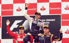 Ferrari Formula One driver Alonso and Lotus' Raikkonen lift up Williams Formula One driver Maldonado after he won the Spanish Grand Prix at the Circuit de Catalunya in Montmelo. Red Bull Racing, F1 Racing, Pastor Maldonado, Grid, Spanish Grand Prix, Lotus F1, Victoria, Alonso, Indy Cars
