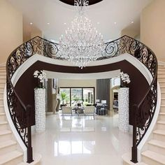 Mansion Interior Design - A Tour Pablo's Escobar Once Owned - recently one of Pablo Escobar house was remodelled into a luxury hotel. Luxury Staircase, Staircase Design, Double Staircase, Grand Staircase, Entrance Lighting, Entrance Ideas, Stairway Lighting, Mansion Interior, Luxury House Plans