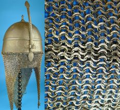 Helmets of this type were made in Birmingham England, originally for the bodyguard of the Khedive of Egypt, known as the Zirkhagi (Iron Men). Amor was always scarce among the Sudanese groups which fought under the Mahdi against the Egyptian army, many subsequently fell into the hands of the Sudanese, presumably through combat. Notice the split rings of the camail.  http://akaalarms.com
