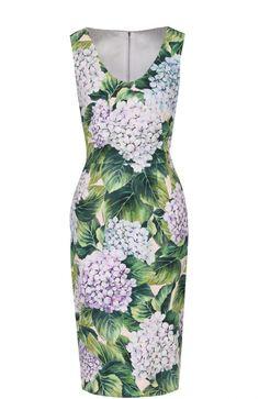 Женское зеленое приталенное платье-миди с цветочным принтом DOLCE & GABBANA — купить за 99500 руб. в интернет-магазине ЦУМ, арт. 0102/F65U6T/GDF75
