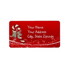 Shop Candy Cane Christmas Label created by Lasting__Impressions. Christmas Address Labels, Custom Address Labels, How To Be Outgoing, Candy Cane, Christmas Cards, Templates, Words, Prints, Gender
