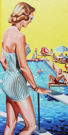 Come in, the water's fine!  1950s vintage bathing suit illustration