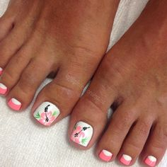 Flowers for your toes. Oh how so deserving. You can't understand the woes. You always try to squeeze me in those tiny shoes and it's… Pedicure Nail Art, French Pedicure, Toe Nail Art, Nail Manicure, Gel Nails, Pretty Toe Nails, Cute Toe Nails, Cute Acrylic Nails, Beach Themed Nails