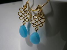 Vergoldete Ohrringe - Ohrringe aqua blau türkis celtic knot vergoldet - ein Designerstück von kunstpause bei DaWanda