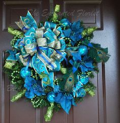Christmas Wreath Blue Green and Gold by theenchantedflorist