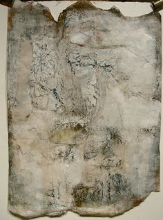 Something, mixed media and bees wax on rice paper by Jeane Myers (encaustic)