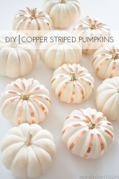 Add metal accent stripes to these cute white pumpkins for your perfect modern fall decor. // modern // fall // decor // pumpkins // rose gold // white // decorations // home // Diy Deco Halloween, Halloween Pumpkins, Fall Halloween, Halloween Crafts, Halloween Decorations, Cheap Halloween, Spooky Decor, Pumkin Decoration, Modern Halloween Decor