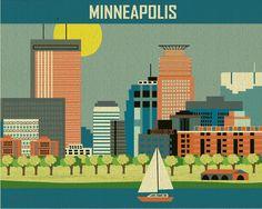 Minneapolis skyline print Horizontal Art Poster Print for Home, Office, and Nursery. $19.99, via Etsy.