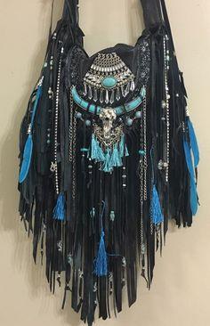 Handmade Black Leather Fringe Cross Body Bag Boho Hobo Southwestern Purse B.Joy  | eBay