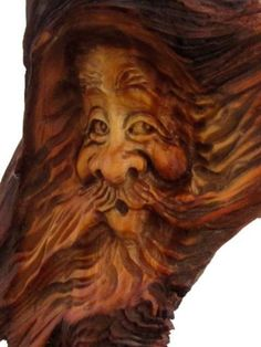 Tree Wood Spirit Carving Knot Head Gnome Log Home Cabin Art Wizard Hobbit Elf | eBay