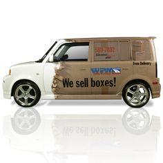 "Fantastic vehicle wrap concept for ""box"" company! Corporate Design, Toyota Scion Xb, Wrap Advertising, Car Lettering, Vehicle Signage, Gta Cars, Van Wrap, Truck Design, Logo Design"