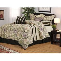 Grand Bedding- -Cosmic Purple/Sage/Beige 7PC  Comforter Set Bed in a Bag