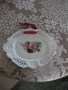 Baum Brothers Formalities Porcelain Victorian Rose Cutwork Pierced Plate by LikeNewShop on Etsy Cutwork, Decorative Plates, Porcelain, Victorian, China, Rose, Tableware, Home Decor, Porcelain Ceramics