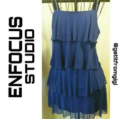 ENFOCUS Studios Layered Dress Size 6. Blue layered dress with sequined straps. In great pre owned condition. enfocus Dresses Mini