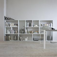 """""""Persienne by Arnaud Lapierre│Designed by Arnaud Lapierre, these modular storage cubbies are made of matte white lacquered MDF, backed by a laser cut metal…"""" Ligne Roset, Modular Storage, Cubby Storage, Living Room Units, Laser Cut Metal, Cubbies, Contemporary Furniture, Bookshelves, Furniture Design"""