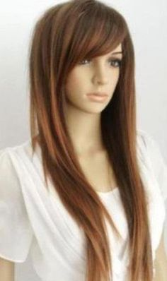 Austin // Long Straight Brown Wig with Red Highlights Full Wig Synthetic Hair. $59.00, via Etsy.