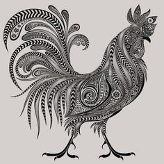 Wallpaper - Zentangle Animals Gorgeous Cock Patterns Tagged at jatmiko. Doodle Art Drawing, Zentangle Drawings, Mandala Drawing, Mandala Art, Art Drawings, Zentangle Animal, Zentangles, Rooster Tattoo, Rooster Art