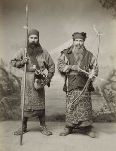 Portrait of two Ainu men from the island of Hokkaido in northern Japan, ca.