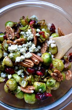pan seared brussel spouts with cranberries and pecans