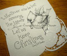 Original Pen and Ink Illustration on Antique Embroidery Vintage Linen Michelle Palmer Snowman Bluebird Joy Winter Friend