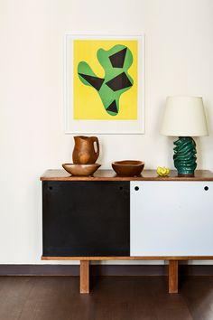 Collector Emmanuel de Bayser's Berlin apartment, living room detail | Charlotte Perriand Georges Jouve Alexandre Noll Hans Arp design art interiors