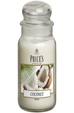 Prices Large Jar Candle Coconut Burn Time Up to 150 Hours Height 195mm Diameter 100mm Prices candles are one the finest scented candle makers in the world and are based in the UK. This leading scented candle maker is a supplier to Her Majesty The Queen so you will be in good company when you buy a Prices candle. Lovely Gift Idea. #decorations_large #jar_DIY #candle_decor #summers #lowed