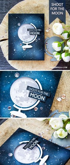 Shoot For The Moon with new Altenew To The Moon stamp set and Big World Coordinating Dies. For details and to learn how to create this ink blended galaxy background, visit http://www.yanasmakula.com/?p=55213