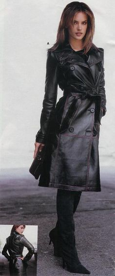 Black leather belted trench coat