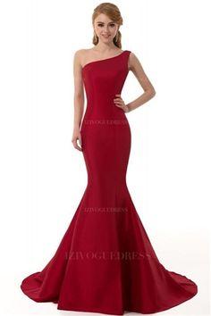 Trumpet/Mermaid One Shoulder Court Train Taffeta Prom Dress