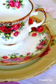 Royal Albert Old English Rose pattern tea cup and saucer.  This is my china pattern.  I love it!