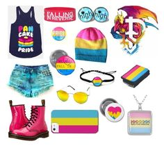 """""""Pansexual"""" by haley-the-fallen ❤ liked on Polyvore featuring Dr. Martens and Betsey Johnson"""