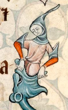 Stuck in the dragon's mouth (@BLMedieval, Luttrell Psalter, 14th c.)