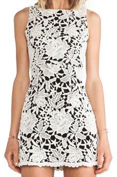 Alice + Olivia Jolie // Sleeveless Mesh Back Dress in Cream & Black