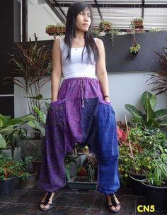 CN5 -Unisex Ohm Patchwork Harem Baggy Pants,Drop Crotch Trousers,100% Cotton. #TribalFashion #DropCrotchCasual