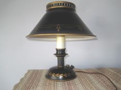 Table Desk, Table Lamp, Tole Painting, Gold Accents, Vintage Black, Hand Painted, Bedroom, Home Decor, Table Lamps