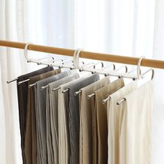 Stylish and Durable: Our metallic Pants Rack is durable, rustproof, and stylish. Space Saving Design: The adjustable storage rack can be hung steadily with t Closet Hangers, Suit Hangers, Hanging Pants, Pants Rack, Velvet Hangers, Bedroom Closet Design, Hanger Rack, Closet Space, Storage Rack