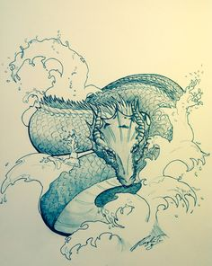Water dragon  Ink watercolour