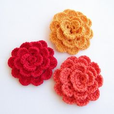 Crochet Flower Broosh  Color of choice  Red , pumpkin ,orange | ayca - Crochet on ArtFire
