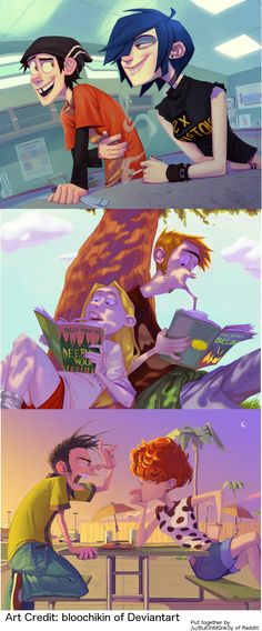 Ed, Edd, and Eddy all grown up. Loved this cartoon.