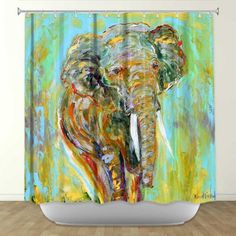 LOVE This Watercolor Inspired Elephant Shower Curtain From DiaNoche Designs By Karen Tarlton Home Dcor