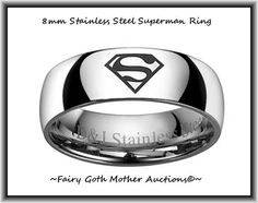 Men's Superman Stainless Steel Ring Sz 12. Starting at $10 on Tophatter.com!