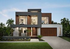 Contemporary display home located in Newport, Australia, designed by Metricon. Modern House Facades, Modern Architecture House, Modern House Plans, Modern Villa Design, Modern Contemporary House, House Front Design, Dream House Exterior, Display Homes, Facade House