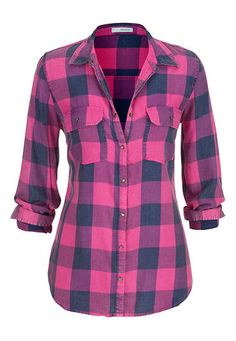 plaid button down shirt in hot pink (original price, $29) available at #Maurices