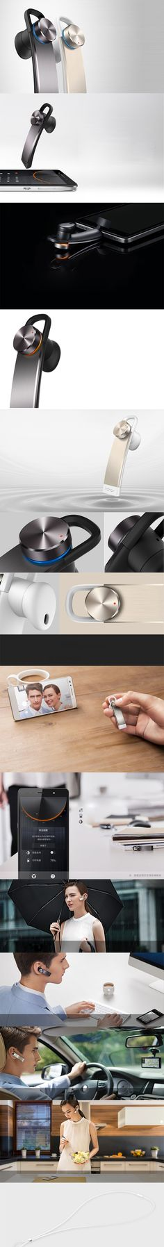 HUAWEI Whistle Honor AM07 Voice Control Fast Charging Bluetooth Earphone for Huawei Honor 7/iPhone 6 etc - Grey