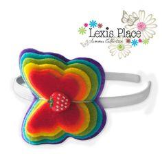 Nostalgic rainbow hairband Handmade girls hair by LexisPlaceUK, £9.99