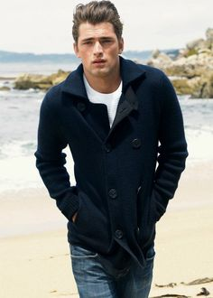 Men's double breasted peacoat sweater in navy. Love this.