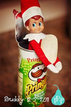 Elf enjoys Pringles (they rhyme with jingle)