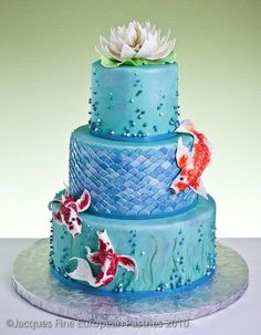 Beautiful Cakes-Best Cakes: Koi wedding cake, this is mine! Complete with water lily on top.