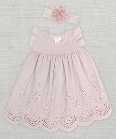Look at this Truffles Kids Pale Mauve Eyelet Dress & Floral Headband - Infant on #zulily today!